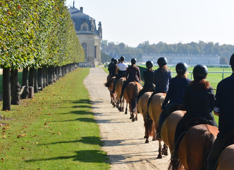 Horse riding on Henson horse at Chantilly